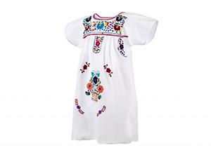Vestido Blanco con bordados en colores
