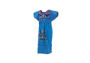 Vestido Azulón con bordados en colores