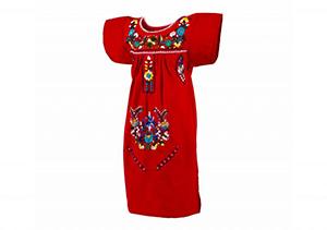 Vestido Rojo con bordados en colores