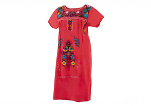 Vestido Coral con bordados en colores