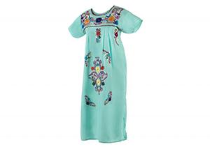Vestido Agua marina con bordados en colores
