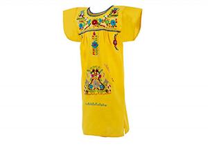 Vestido Amarillo con bordados en colores