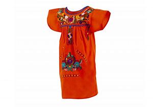 Vestido Naranja con bordados en colores