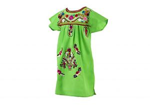 Vestido Verde pistacho con bordados en colores