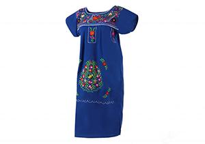 Vestido Azulón oscuro con bordados en colores