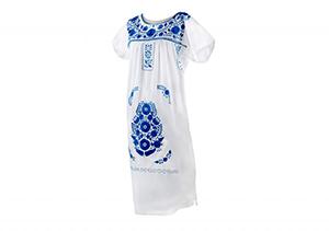 Vestido Blanco bordados azules