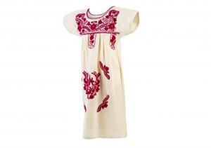 Vestido manta bordados Fucsia