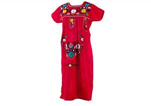 Vestido Fucsia con bordados en colores
