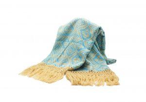Foulard de invierno turquesa y beige