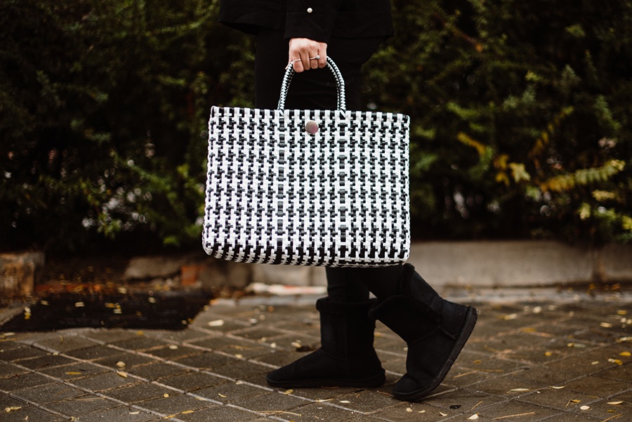 Bolso shopper estampado pata de gallo , blanco y negro, moda, fashion, bolso de mano, hecho en méxico