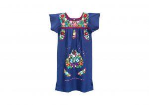Vestido Azul Marino bordados colores