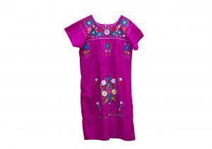 Vestido popelina Buganvilla bordados colores